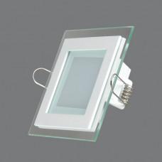 705SQ-6W-3000K Светильник встраиваемый,квадратный,со стеклом,LED,6W